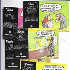 Postales: SERIE COMPLETA 12 POSTALES LOTERIA NACIONAL * ZODÍACO * DATILE 1981. Lote 175514445