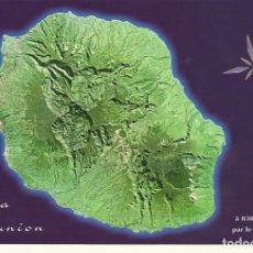 Postales: FRANCIA. ILE DE LA REUNION. VUE REALISEE A 830 KM D'ALTITUDE PAR LE SATELLITE SPOT. 2000.. Lote 175749025