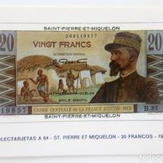 Postales: POSTAL COLECTARJETAS A 64. ST. PIERRE ET MIQUELON. 20 FRANCOS. 1950. EUROHOBBY.. Lote 176209554