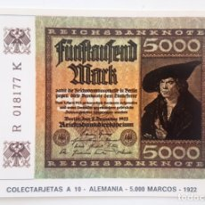 Postales: POSTAL COLECTARJETAS A 10. ALEMANIA. 5.000 MARCOS. 1922. EUROHOBBY.. Lote 176209982