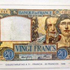 Postales: POSTAL COLECTARJETAS A 71. FRANCIA. 20 FRANCOS. 1940. EUROHOBBY.. Lote 176211167