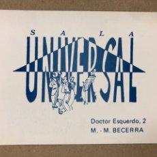 Postales: SALA UNIVERSAL (MADRID). TARJETA POSTAL INVITACIÓN A LA SALA CON COPA EL 8 OCTUBRE DE 1988. Lote 177132969