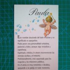 Postales: 158 IMASTEL CARDS - SIGNIFICADO DEL NOMBRE PAULA (ILUSTRACION ANGEL) - 1997. Lote 177315560