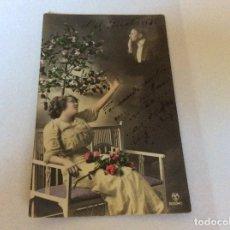 Postales: TARGETA DE FELIZ CUMPLEAÑOS, CIRCULADO. AÑO 1919. MUY RARO. Lote 178218305