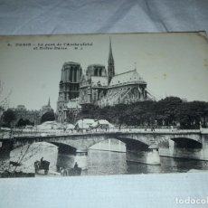 Postales: MAGNIFICA ANTIGUA TARJETA POSTAL PARIS LE PONT DE L´ARCHEVÊCHE ET NOTRE DAME . Lote 178318391