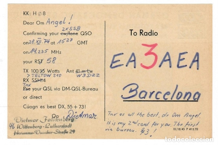 Postales: QSL / German Democratic Republic 1974 - Veb Kombinat Elbit - Foto 2 - 178591512