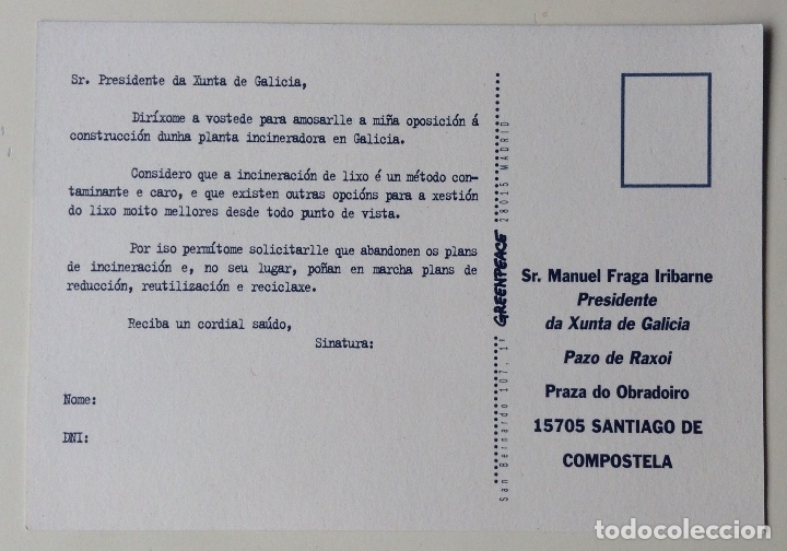 Postales: Incineradora No postal política gallega dirigida a Fraga Iribarne Greenpeace - Foto 2 - 178734373