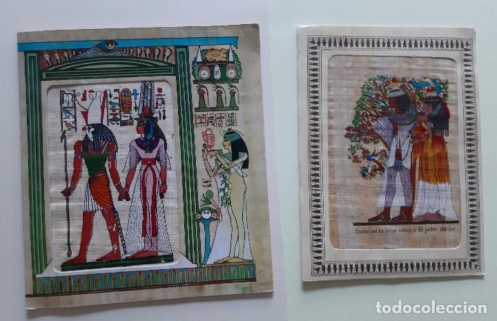 EGIPTO - 2 POSTALES EN PAPIRO CON JEROGLÍFICOS EGIPCIOS - FELICES FIESTAS (Postales - Varios)