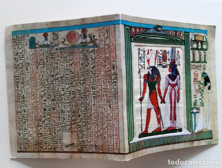 Postales: EGIPTO - 2 POSTALES EN PAPIRO CON JEROGLÍFICOS EGIPCIOS - FELICES FIESTAS - Foto 3 - 182747841