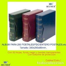 Postales: ALBUM PARA 200 POSTALES CON CAJETÍN A JUEGO. 280X290X86MM.CON 50 HOJAS. Lote 207035815