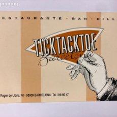 Postales: TICKTACKTOE RESTAURANTE BAR BILLAR (BARCELONA). POSTAL SIN CIRCULAR PROMOCIONAL AÑOS 80. Lote 183749367
