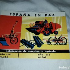 Postales: POSTAL ESPAÑA EN PAZ FABRICACIÓN DE MAQUINARIA AGRÍCOLA . Lote 188422325
