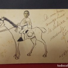 Postales: POSTAL - TORERO MONTADO A CABALLO - LA CARA ES UNA PEGATINA - DEDICADA , A ORTIZ - .. L540. Lote 190288696