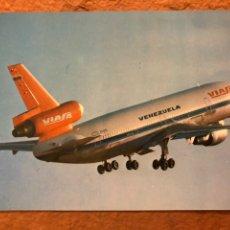 Postales: VIASA LA LÍNEA AÉREA DE VENEZUELA. POSTAL SIN CIRCULAR PUBLICITARIA. MCDONELL DOUGLAS DC-10-10. Lote 190306325