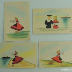 Postales: COLECCIÓN LOTE DE 4 POSTALES ANTIGUAS DE AMOR. Lote 190640892
