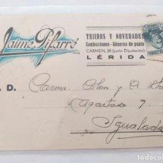 Postales: TARJETA POSTAL LÉRIDA JAIME PIFARRÉ ,TEJIDOS , REPÚBLICA ESPAÑOLA. Lote 193900491