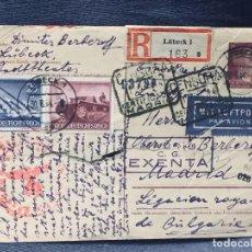 Postales: TARJETA POSTAL TELEGRAMA LÜBECK A MADRID LEGACION REAL DE BULGARIA 1944 DIMITER BERKEROFF. Lote 193984081