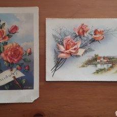 Postales: LOTE 2 ANTIGUAS POSTALES ILUSTRADAS ROSAS BORDE DORADO. Lote 194387501