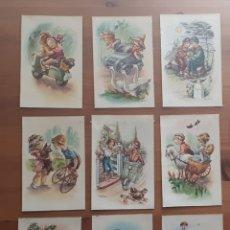 Postales: ANTIGUA POSTAL ILUSTRADA NIÑOS BORDE DORADO. Lote 194389598