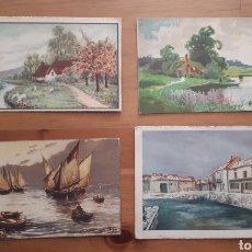 Postales: LOTE 4 ANTIGUAS POSTALES PINTURAS PAISAJES M.UTRILLO Y OTROS. Lote 194535602