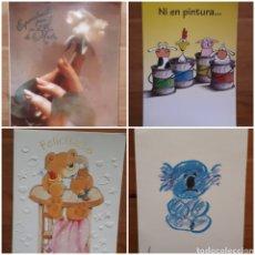 Postales: LOTE 4 POSTALES FELICITACIÓN OSO RELIEVES, ANIMALES BOTES PINTURA, DÍA DE LA MADRE, I'M SO BLUE. Lote 194536313