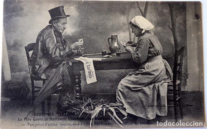 P-10065. POSTAL PUBLICITARIA COSTUMES SARTHOIS. FRANCIA, PAREJA JUGANDO A CARTAS. AÑO 1923 (Postales - Varios)