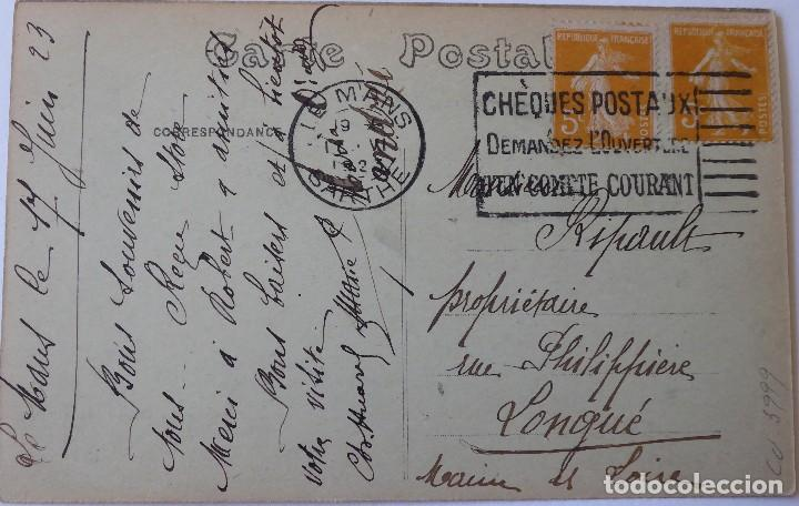 Postales: P-10065. POSTAL PUBLICITARIA COSTUMES SARTHOIS. FRANCIA, PAREJA JUGANDO A CARTAS. AÑO 1923 - Foto 3 - 194607391