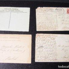 Postales: COLECCIÓN DE 12 TRASERAS DE POSTALES. UNA CON MATASELLOS SAN SEBASTIÁN 1909.. Lote 194611463