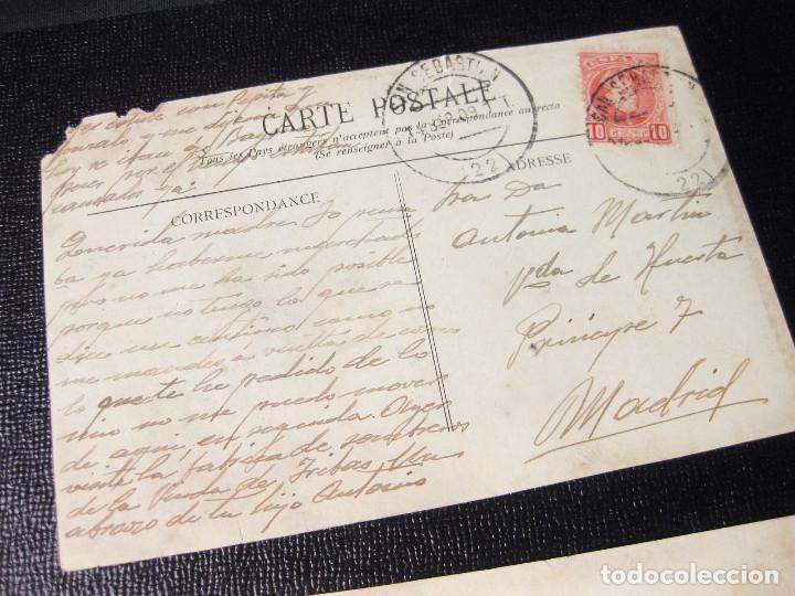 Postales: Colección de 12 traseras de postales. Una con matasellos San Sebastián 1909. - Foto 2 - 194611463