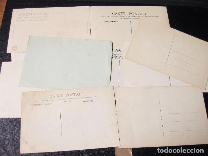 Postales: Colección de 12 traseras de postales. Una con matasellos San Sebastián 1909. - Foto 3 - 194611463
