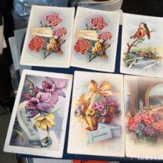 Postales: COLECCION DE 6 TARJETAS POSTALES AÑOS 50 Y 60 FLORES Y AVES . Lote 194727173