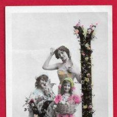 Postales: AE894 MUJER NINOS ABECEDARIO ALFABETO LETRA J CON FLORES FECHA 1907 FOTO STEBBING. Lote 194730551