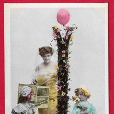 Postales: AE893 MUJER NINOS ABECEDARIO ALFABETO LETRA I CON FLORES FECHA 1907. Lote 194730825