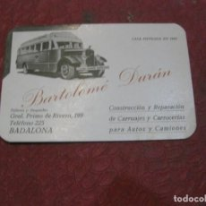 Postales: TARJETA DE PRESENTACION BARTOLOME DURAN CONSTRUCCION Y REPARACION DE CARRUAJES PARA AUTOS Y CAMIONES. Lote 194737208