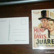 Postales: POSTAL BETTE DAVIS Y PAUL MUNI 1939 JUAREZ DE WILLIAM DIETERLE - COLECCIÓN CACITEL CARTELES DE CINE´. Lote 195006315