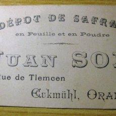 Postales: BONITA TARJETA DE PRESENTACION DE COMERCIAL DE AZAFRAN EN ORAN ALGERIA. Lote 195056030
