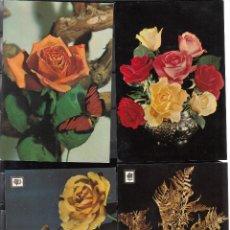 Postales: 4 POSTALES DIVERSAS. ROSAS Y FLORES SILVESTRES. Lote 195284387