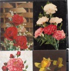 Postales: 4 POSTALES DIVERSAS DE ROSAS. Lote 195307308