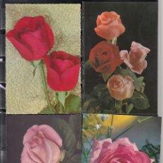 Postales: FLORES. 4 POSTALES DIFERENTES. Lote 195308295