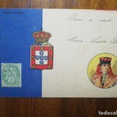 Postales: POSTAL CON BANDERA ESCUDO Y MUJER DE PORTUGAL - CIRCULADA 1901. Lote 195567803
