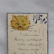 Postales: TARJETA RECUERDO UNICA, PINTADA A MANO, FIRMADA, MENU MADRID 1928. Lote 197420427