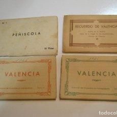 Postales: LOTE 4 LIBRITOS POSTALES ANTIGUAS PEÑISCOLA Y 3 VALENCIA VIRGEN DESAMPARADOS (20-17). Lote 198859527