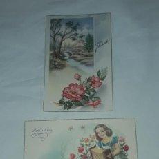 Postales: BELLO PAR DE ANTIGUAS POSTALES DE FELICITACIÓN AÑOS 50. Lote 200871715