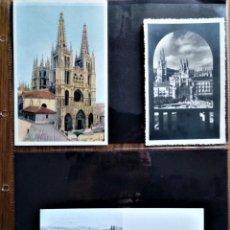 Postales: CATEDRAL DE BURGOS RARO CONJUNTO DE 120 POSTALES Y 3 FOTOGRAFÍAS MUY BUEN ESTADO HASTA AÑOS 70. Lote 205644175