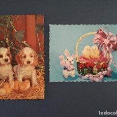 Postales: 2 POSTALES DE FELICITACION, AÑOS 60, CON ANIMALES, ESCRITAS. Lote 206564496