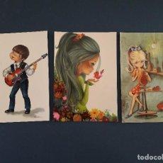 Postales: 3 POSTALES DE DIBUJOS DE NIÑOS, AÑOS 60/70, ESCRITAS. Lote 206564852