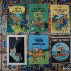 Postales: LOTE DE 6 POSTALES DE TINTÍN. VER REVERSO EN FOTO ADICIONAL. (HERGÉ, MOULINSART). Lote 208423971