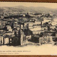 Postales: BILBAO, IGLESIA DE SAN ANTÓN VISTA DESDE MIRIBILLA. POSTAL SIN CIRCULAR COLECCIÓN BBK Y DEIA. Lote 209976085