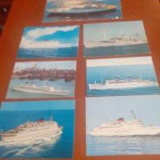 Postales: LOTE DE 7 POSTALES DE CRUCEROS AÑOS 70 SIN USAR. Lote 214975411