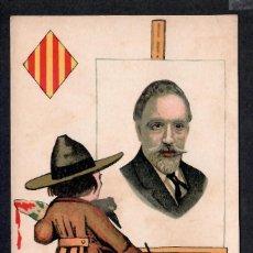 Postales: POSTAL CATALANISTA DE PERSONAJE CON PINTOR - SIN CIRCULAR - 1910-20.. Lote 214983053
